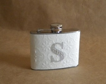 On SALE Bride's Garter Flask Embossed White with Any Rhinestone Initial Steel 4 ounce Girly Flask
