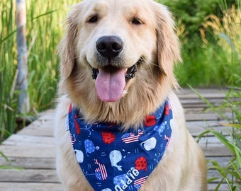 Personalized Patriotic Dog Bandana | Reversible Summer Whales Pet Scarf | Best Custom Puppy Dog Gifts by Three Spoiled Dogs