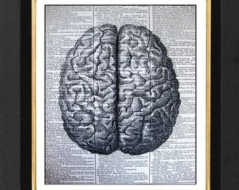 Brain Print, Anatomical Brain, Gray Matter, Dictionary Print of Anatomical Brain, Biology Art, Brain Poster, Anatomical artwork, The Brain
