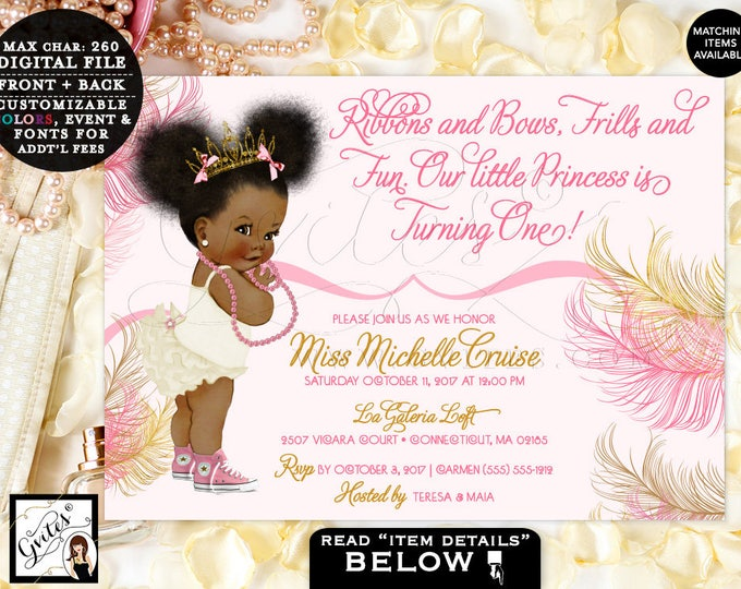 """Pink and Gold Baby First Birthday Invitation, Princess African American Afro Puffs Tiara, Ribbons Bows 1st invite, 7x5"""" TIAAPU004 Gvites"""