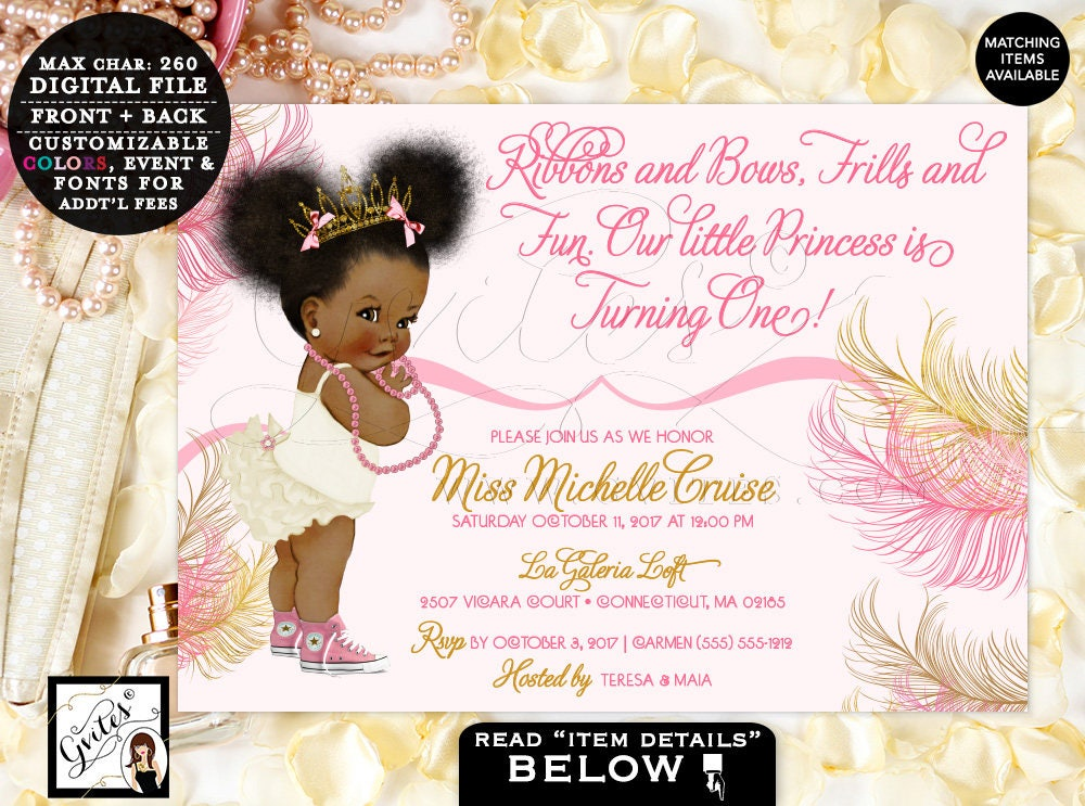 Pink and Gold Baby First Birthday Invitation, Princess African ...