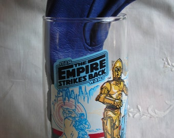 Star Wars Glass. R2D2 and C3P0 in the Plnet Hoth. A Tauntaun With Rider Behind.  Burger King and Coca Cola. 1980. Collector Series.