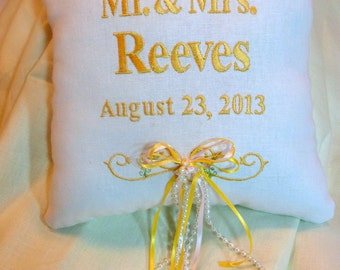 Ring Bearers Pillow -  Wedding Pillow - Embroidered Ring Bearers Pillow - Personalized Wedding Pillow - Linen Pillow