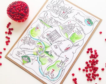 Illustrated Wedding Invitation/ Wedding Map/ South Carolina