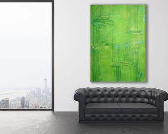 Green Abstract Painting / Modern Art / Green and Blue Painting / XL Abstract Art / Large Green Painting / Lime Green Painting