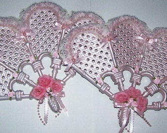 Decorative Fan, Wall Hanging, Wall Decor, Pink Fan, Bedroom Decor, Feminine Decor, Pink Cottage, Shabby Chic, Gifts for Her, Mothers Day