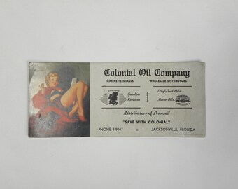 1950's Pinup Advertising Card / Colonial Oil Co.