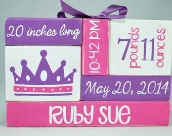 Pink and Purple Princess Crown Baby Birth Stat Nursery WoodenBlock Shelf Sitter Stack