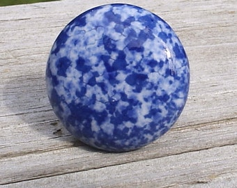 Set Of 6, Speckled, Ceramic, Cabinet Knob, Drawer Pull blue, white, Enamelware, Granite ware, furniture knobs, Country Cottage