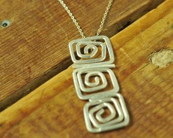 Euphorbia*  Artisan Sterling Silver Necklace Geometric Pendant
