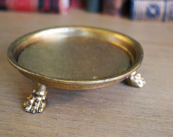 Round Lion Paw Footed Gold Tray