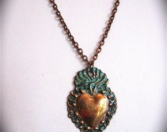 Copper SACRED HEART Intricate Milagro Necklace- Perfect gift for your loved one