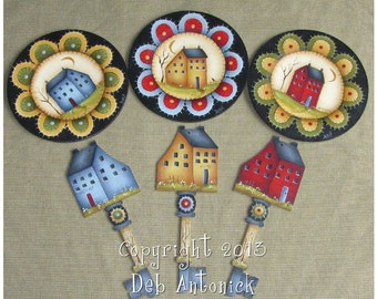 Saltbox house plates with Keys by Deb Antonick, email pattern packet