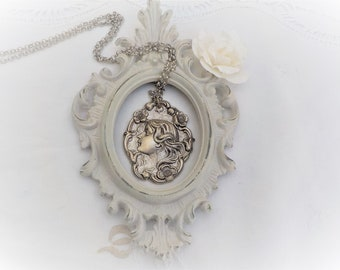 Art Nouveau silver plated long necklace