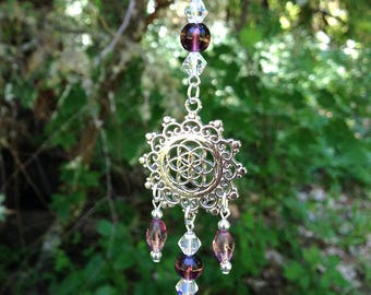 Flower of Life Purple Suncatcher