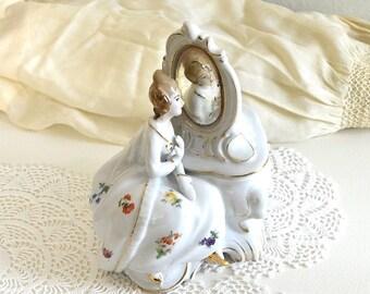vintage victorian lady lidded jar Dermay vanity dresser decor romantic French decor ceramic lidded container