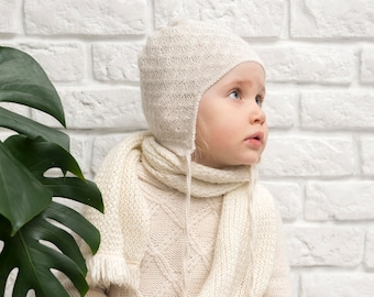 Knit baby beanie toddler hat girl boy go home outfit gender neutral clothes. Size 1, 3, 6, 12, 24 months - natural white