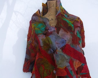 Nuno Felted Shawl Autumn Dream; Burgundy Red with Steel Blue;OOAK; Eco-Fasht Shawl; Gift for Her;;193cm x 46cm