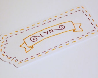 Personalized Name Bookmark Hand Embroidered  - Paper Art - Embroidered paper - book lover gift - First anniversary gift