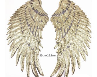 gold sequins patch,iron on angels wings patches,embroidery embroidered badges,wings appliques,patches for jackets,patches for denim jeans