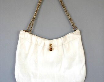 White, Kid-Leather, Purse