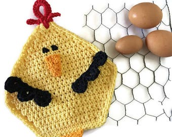 Crochet Chicken Potholder, Yellow Cotton Pot Holder, Chicken Wire Kitchen Decor, Country and Farm Kitchen, Housewarming, Shower Gift for Her