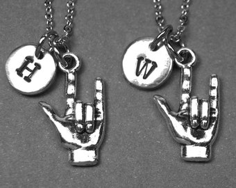 I love you necklace, best friend necklace, ASL necklace, Sign language necklace, best friend jewelry, best friend gift, initial necklace
