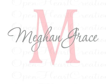 Initial and Name Vinyl Wall Decal - Traditional Modern Script Font – 33 Colors IN0038