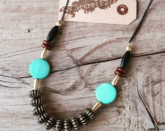 Black and turquise  statement necklace, oriental necklace, Modern Chunky necklace, bohemian necklace, geometric necklace