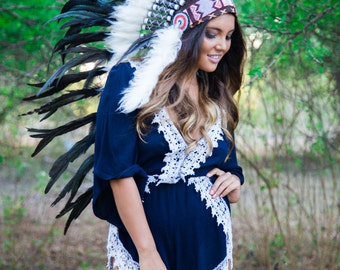 The Original - Real Feather All Black Chief Indian Headdress Replica 100cm, Native American Style Costume Hand Made War Bonnet Hat