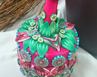 Spring Fling Polymer Clay Soap Stone Vessel Jewelry Ring Necklace Wyndsong