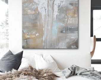 GICLEE PRINT Art Abstract Angel Painting Canvas Print Oil Painting Home Decor Wall Decor Housewarming Gift White Grey Blue Beige - Christine
