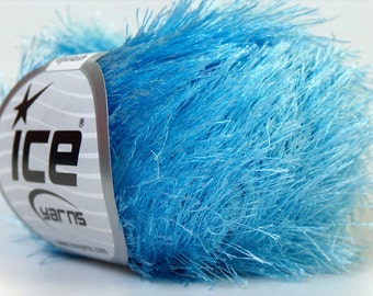Light Blue Eyelash Yarn Ice Blue Fun Fur 82 Yards 22779