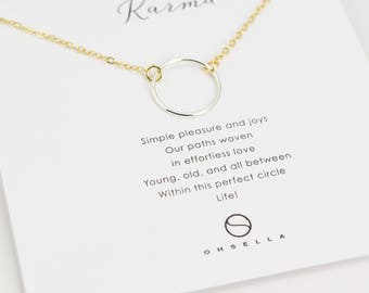 Karma Circle Necklace, Everyday Necklace,Dainty Little Circle Necklace, Holiday Gift, Eternal Circle Necklace,Mixed Metal necklace (0110N)