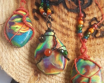 Small wire wrap rainbow necklace