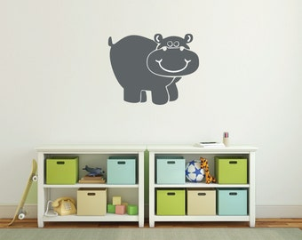 Hippo Wall Decal, Baby nursery wall decal, Hippo nursery decal, Safari animals decal, Hippo wall sticker decals, Hippo vinyl decal DB220