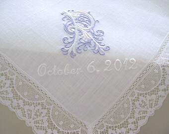 Something Blue Wedding Handkerchief, handkerchief for the Bride, Mother of the Bride Monogrammed Handkerchief