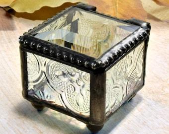 Mini Glass Ring Box Wedding Ring Bearer Box Jewelry Box Stained Glass Keepsake Box Engagement Ring Vintage Box 522