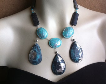 Black Gray and Aqua Colorful Briolette Statement Necklace Silver Leaf Organic Handmade Goddess of the Ages