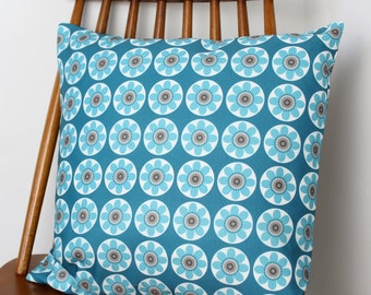 Teal Blue Daisy Daisy Floral Print Cushion Cover Pillow Sham