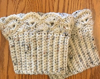 Ivory Fleck Boot Cuffs, Boot Toppers