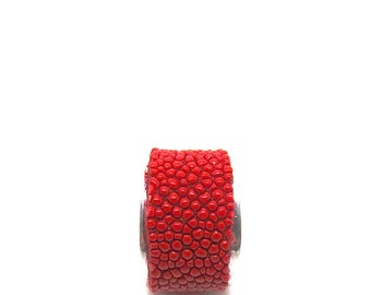 Ring silver and Red Stingray leather
