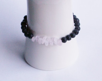 Bracelet with black lava - Pearl and Rose Quartz