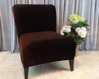 Slipcover Brown Velvet Chair Cover For Armless Chair, Slipper Chair, Accent  Chair, Parsons