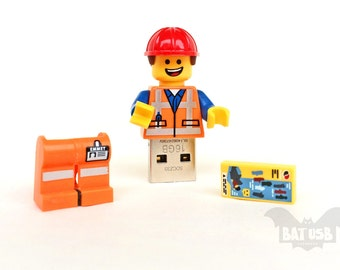 Lego minifigure usb 8/16/32/64GB, Lego usb, Emmet usb, Gift for him, Gift for her, Lego movie, Lego flash drive, Lego usb with legs cap, usb
