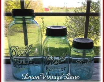Ball Perfect Mason Jars Set of 3 --- HALF Gallon, Quart and Pint Sized Vintage Jars Perfect Mason