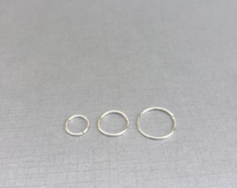 Thin nose ring, forward helix earring hoop, sterling silver septum ring, 20g 22 gauge nose hoop, Silver cartilage earring, 6mm, 8mm, 10mm
