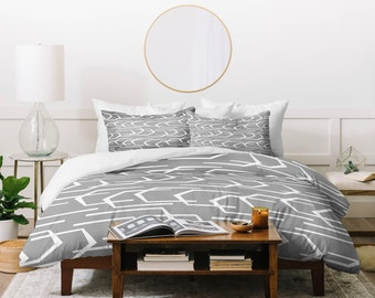 Gray Duvet Cover // Modern Geometric // Bedding // Twin, Queen, King Sizes // Home Decor // Going Places Slate Design // Bedroom // Gray Bed
