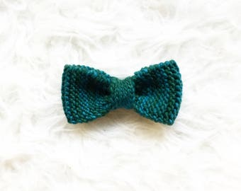 Teal Knitted Bowtie, Grooms Bowtie, Green Hair Bow, Merino Wool Bowtie, Handknit Bow, Men's Knitted Bow tie, Wedding Bow ties, Modern Bowtie