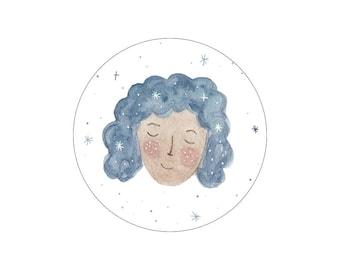 blue space girl sticker